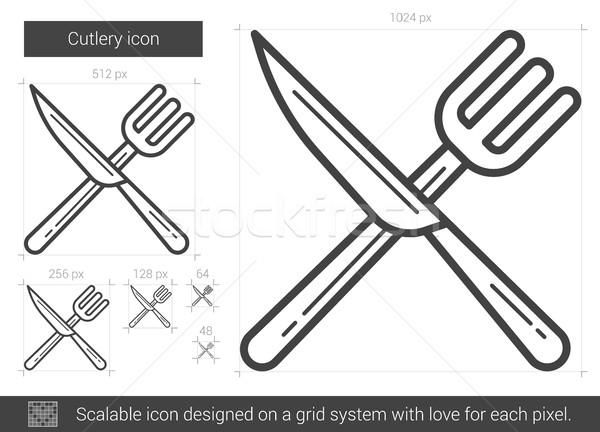 Bestek lijn icon vector geïsoleerd witte Stockfoto © RAStudio