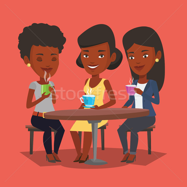 Groupe femmes potable chaud boissons jeunes Photo stock © RAStudio