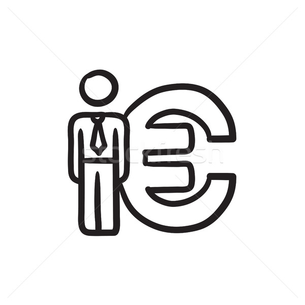 Businessman stands near Euro symbol sketch icon. Stock photo © RAStudio