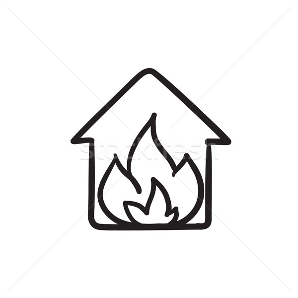 Stock photo: House on fire sketch icon.