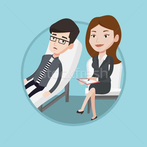 Psychologe Patienten sprechen Probleme depressiv Stock foto © RAStudio
