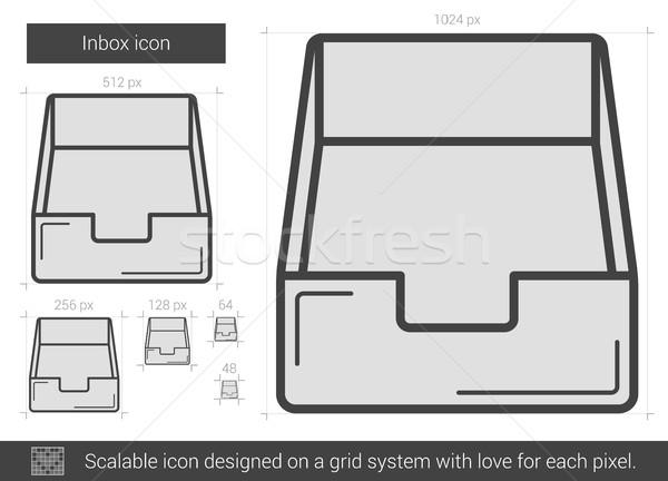 Bandeja de entrada línea icono vector aislado blanco Foto stock © RAStudio