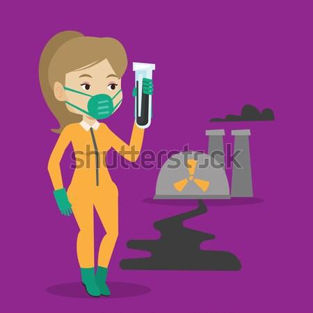 женщину излучение костюм пробирку Постоянный ядерной Сток-фото © RAStudio