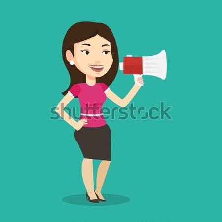 Mulher jovem megafone caucasiano mulher Foto stock © RAStudio