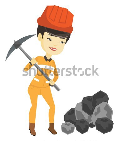 Miner holding coal in hands vector illustration. Stock photo © RAStudio