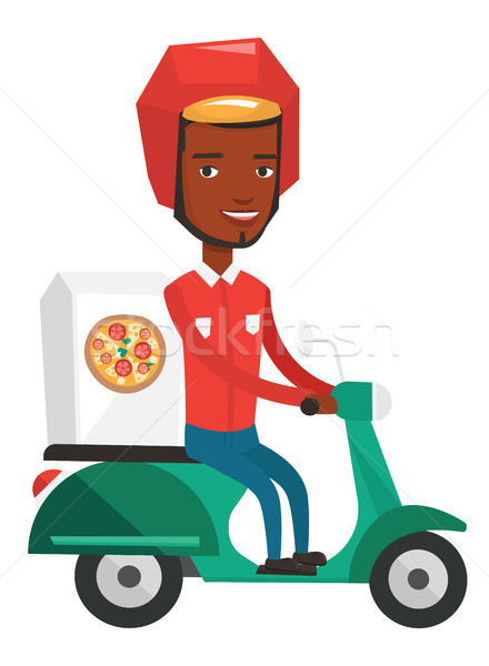 Stock photo: Courier delivering pizza on scooter.
