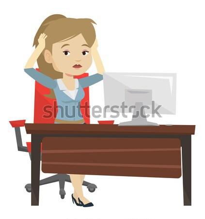 Kimerült szomorú alkalmazott dolgozik iroda kaukázusi Stock fotó © RAStudio