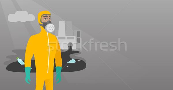 Cientista radiação proteção terno caucasiano Foto stock © RAStudio