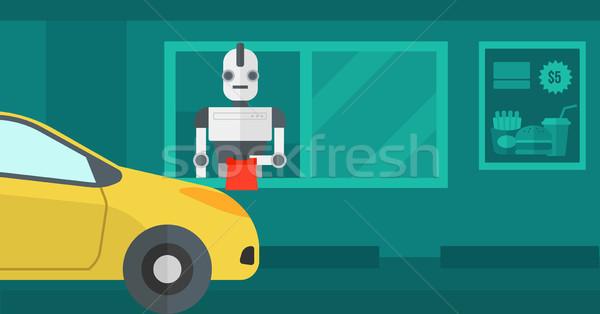 Robot fastfood restaurant robotachtige werknemer om klant Stockfoto © RAStudio