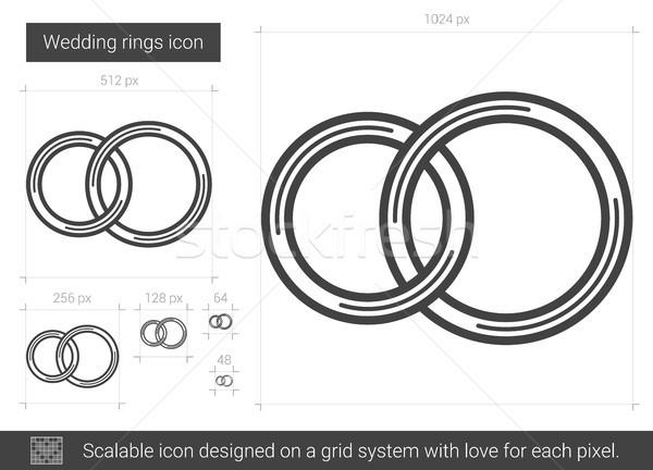 Jegygyűrűk vonal ikon vektor izolált fehér Stock fotó © RAStudio