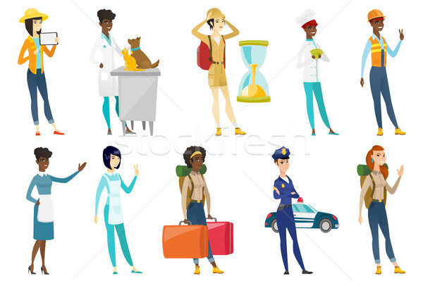 Professional women vector illustrations set. Stock photo © RAStudio