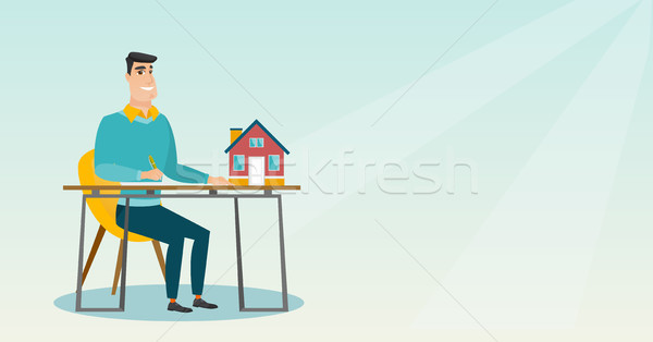 Real estate agent signing home purchase contract. Stock photo © RAStudio