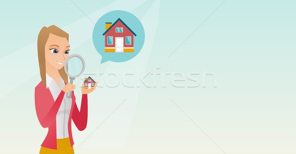 Young caucasian woman looking for a house. Stock photo © RAStudio