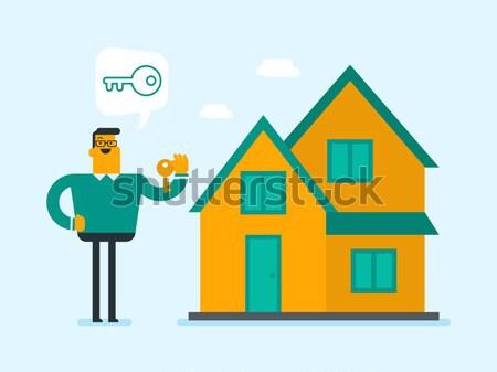 дома продавец линия икона вектора изолированный Сток-фото © RAStudio