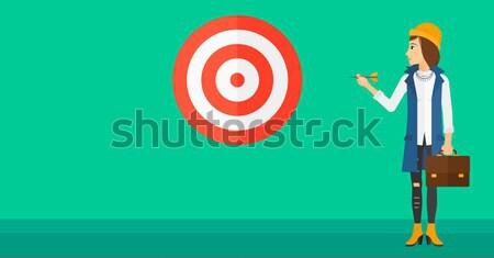 Senior kaukasisch zakenman dart boord permanente Stockfoto © RAStudio
