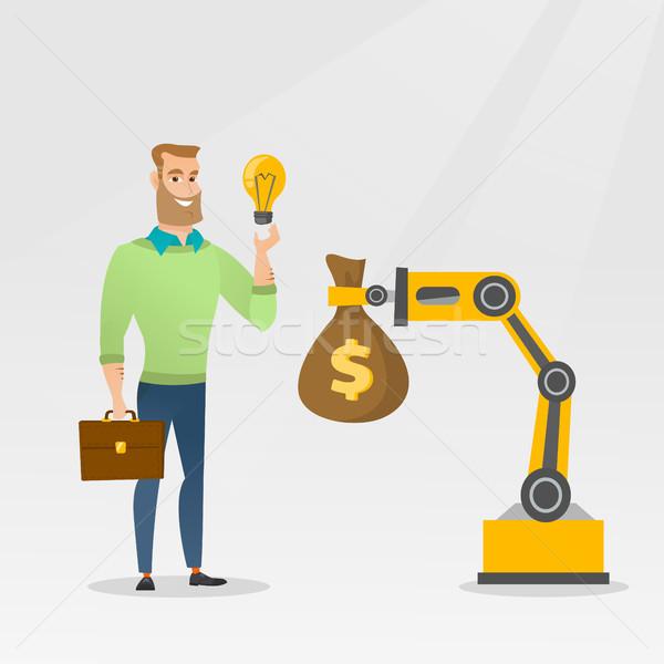 Człowiek pomysł inżynierii robotic strony Zdjęcia stock © RAStudio