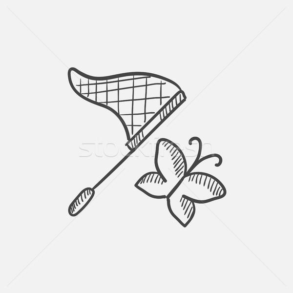 Pillangó net rajz ikon háló mobil Stock fotó © RAStudio