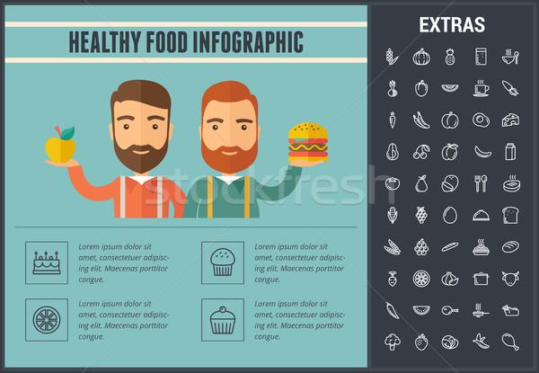 健康食品 信息圖表 模板 分子 圖標 線 商業照片 © RAStudio