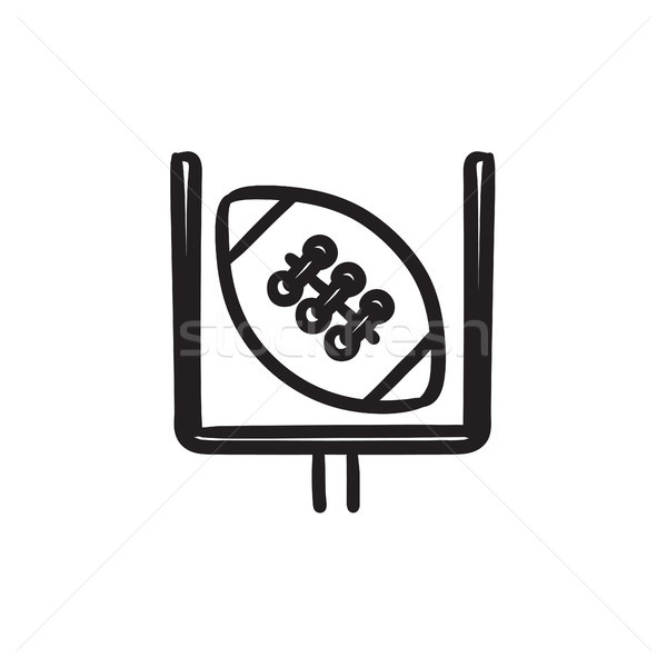 Gate and ball for rugby sketch icon. Stock photo © RAStudio