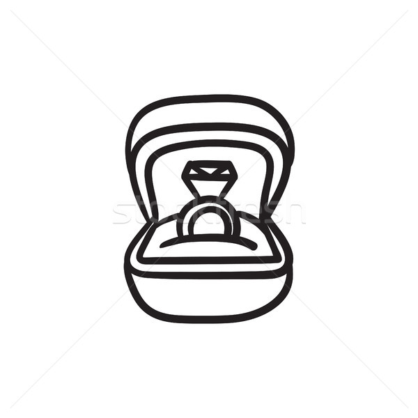 Wedding ring in gift box sketch icon. Stock photo © RAStudio
