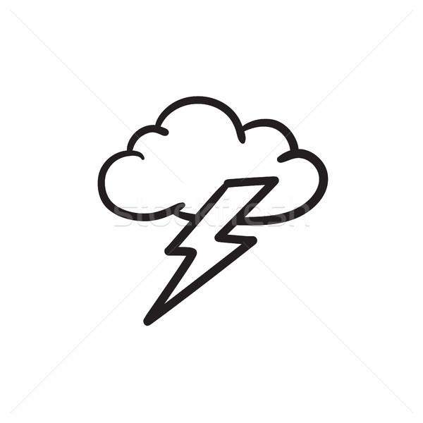 Chmura szkic ikona wektora odizolowany Zdjęcia stock © RAStudio