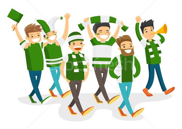 Grupy szczęśliwy sportu fanów zespołu Zdjęcia stock © RAStudio