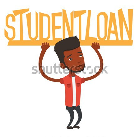 Young african woman holding sign of student loan. Stock photo © RAStudio