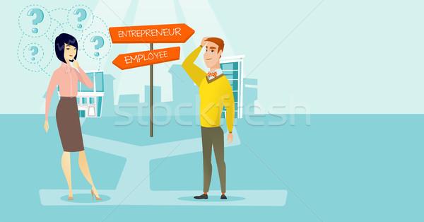 Zavart férfi nő választ karrier ösvény Stock fotó © RAStudio