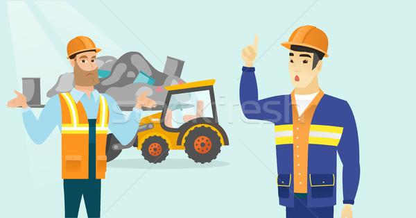 Multiracial workers and bulldozer at rubbish dump. Stock photo © RAStudio