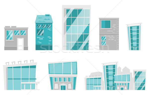 Modernes bâtiments vecteur cartoon illustrations Photo stock © RAStudio