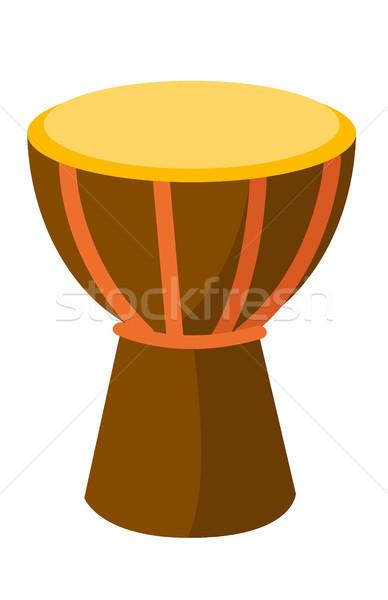 Stockfoto: Afrikaanse · trommel · vector · cartoon · illustratie · geïsoleerd