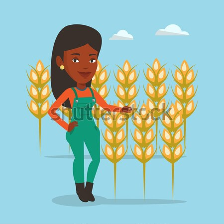 農家 麦畑 興奮した アジア 立って 笑みを浮かべて ストックフォト © RAStudio
