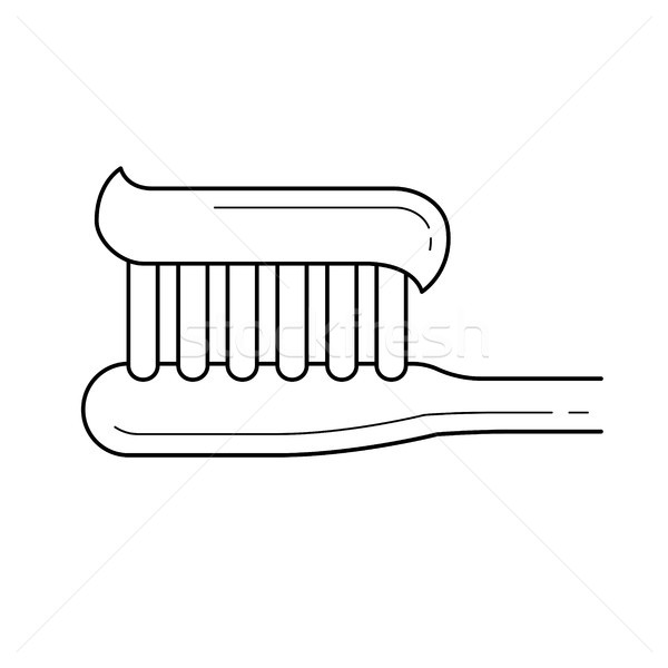 Diş fırçası diş macunu hat ikon vektör yalıtılmış Stok fotoğraf © RAStudio
