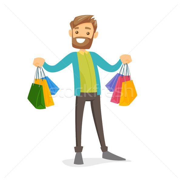 白人 白 消費者 ショッピングバッグ 幸せ ストックフォト © RAStudio