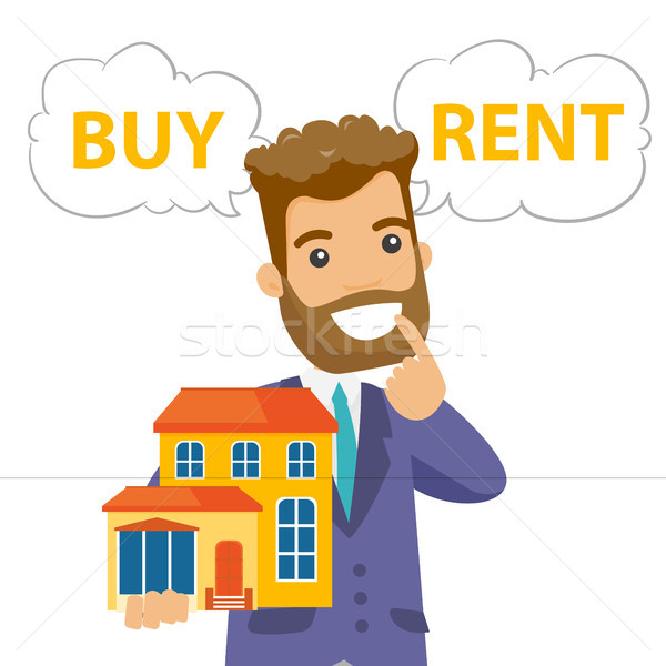 Caucasian white man thinking buy or rent house. Stock photo © RAStudio
