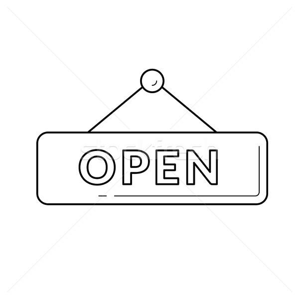 Hanging open door sign line icon. Stock photo © RAStudio