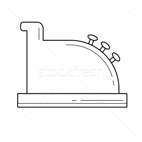 кассир оборудование линия икона вектора изолированный Сток-фото © RAStudio