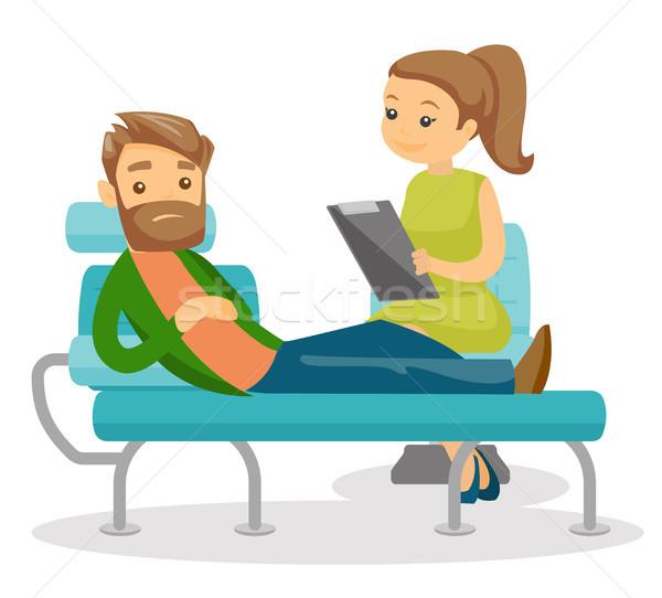Psicologo paziente bianco seduta divano Foto d'archivio © RAStudio