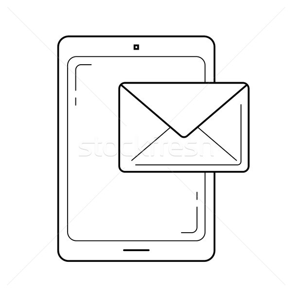 Mobile phone mailing line icon. Stock photo © RAStudio