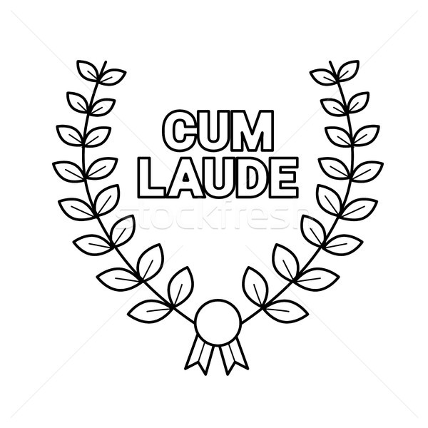 Laurel wreath vector line icon. Stock photo © RAStudio
