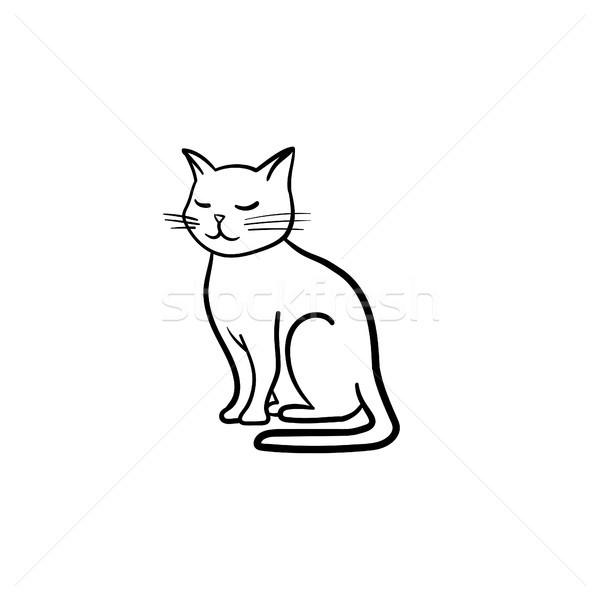 Macska kézzel rajzolt rajz ikon skicc firka Stock fotó © RAStudio