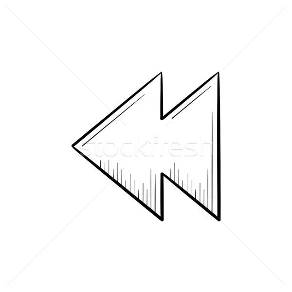 Rewind button hand drawn outline doodle icon. Stock photo © RAStudio