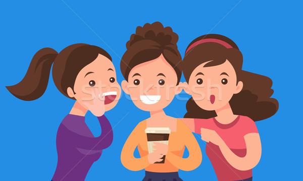 Young caucasian white women sharing gossips. Stock photo © RAStudio