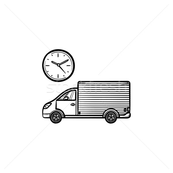 Delivery truck with clock hand drawn outline doodle icon. Stock photo © RAStudio