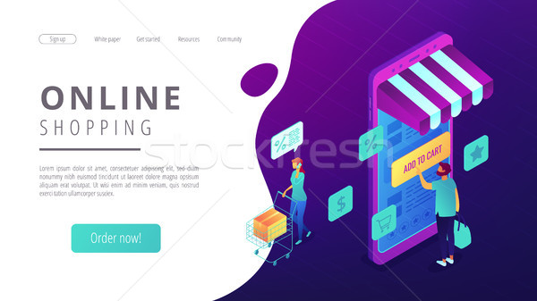 Isometric online shopping and buying landing page. Stock photo © RAStudio