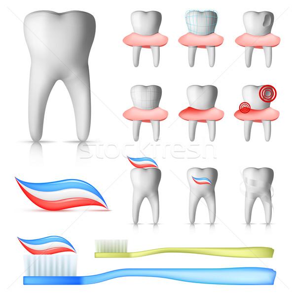 Dentaires dents brosse isolé blanche Photo stock © RAStudio