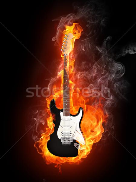 エレキギター 火災 孤立した 黒 コンピューターグラフィックス 音楽 ストックフォト © RAStudio
