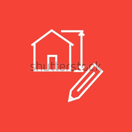 House sketch and pencil thin line icon Stock photo © RAStudio