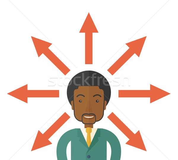 Zwarte vent veel pijlen zakenman verward Stockfoto © RAStudio