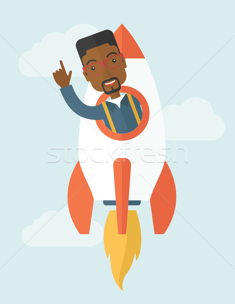 Preto jovem cara dentro foguete Foto stock © RAStudio